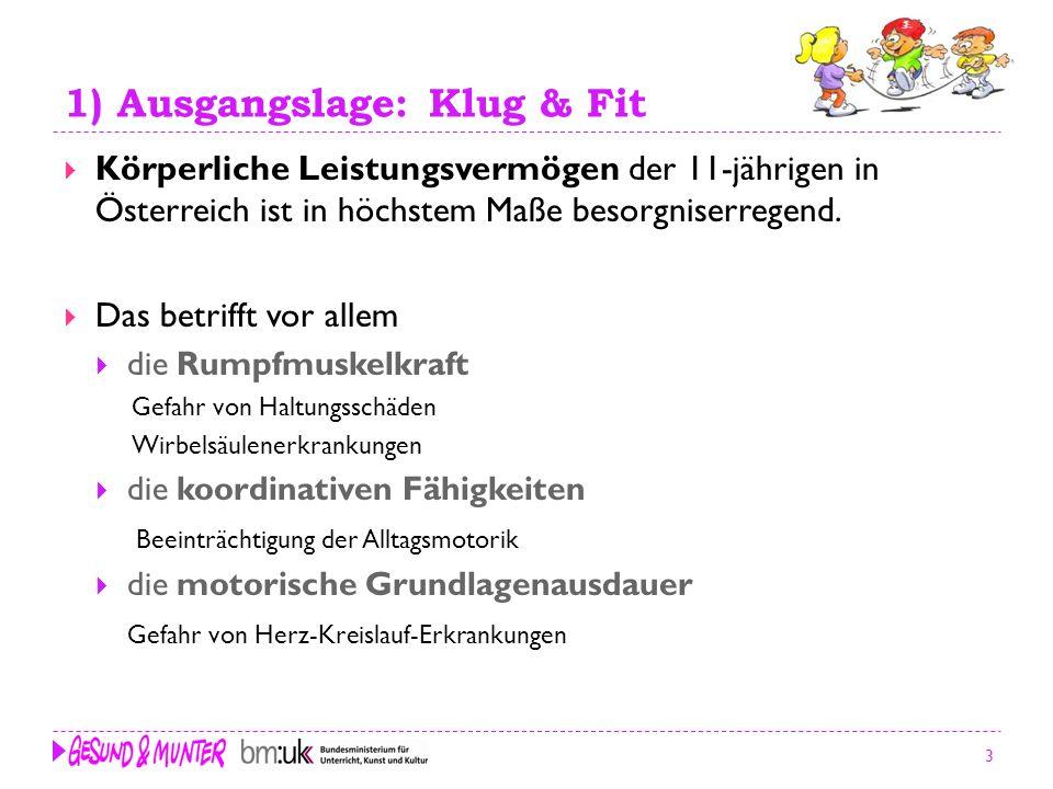 3 1) Ausgangslage: Klug & Fit Körperliche Leistungsvermögen der 11-jährigen in Österreich ist in höchstem Maße besorgniserregend. Das betrifft vor all