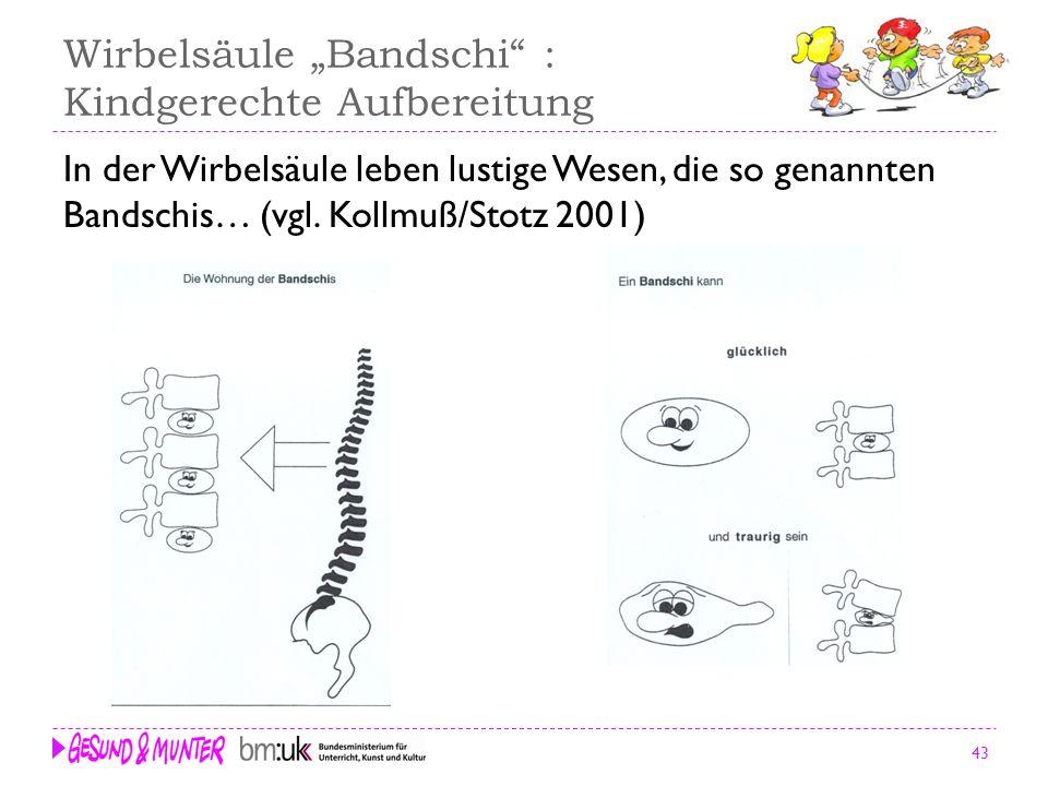 43 Wirbelsäule Bandschi : Kindgerechte Aufbereitung In der Wirbelsäule leben lustige Wesen, die so genannten Bandschis… (vgl. Kollmuß/Stotz 2001)