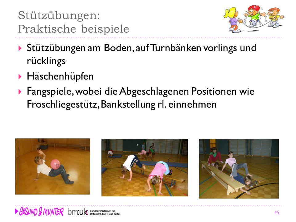 45 Stützübungen: Praktische beispiele Stützübungen am Boden, auf Turnbänken vorlings und rücklings Häschenhüpfen Fangspiele, wobei die Abgeschlagenen