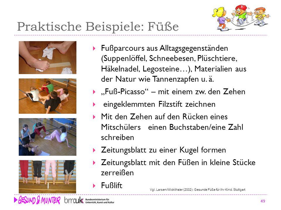49 Praktische Beispiele: Füße Fußparcours aus Alltagsgegenständen (Suppenlöffel, Schneebesen, Plüschtiere, Häkelnadel, Legosteine…), Materialien aus d