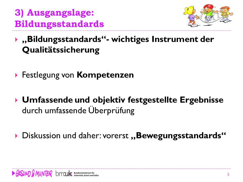 5 3) Ausgangslage: Bildungsstandards Bildungsstandards- wichtiges Instrument der Qualitätssicherung Festlegung von Kompetenzen Umfassende und objektiv