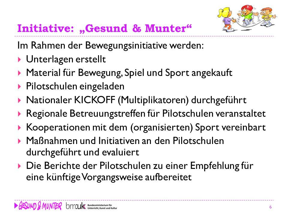 6 Initiative: Gesund & Munter Im Rahmen der Bewegungsinitiative werden: Unterlagen erstellt Material für Bewegung, Spiel und Sport angekauft Pilotschu