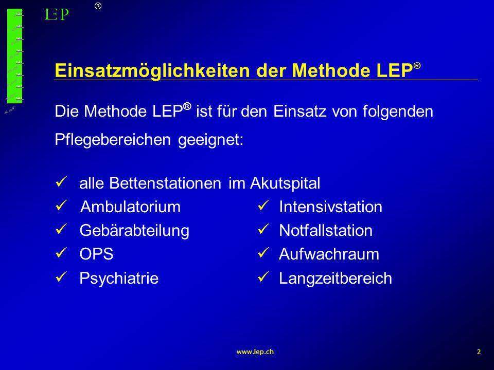 www.lep.ch3 Methode Die erbrachten Pflegeleistungen werden retrospektiv für jeden Patienten täglich erfasst Um den Pflegeaufwand abzubilden sind pro Bereich ca.