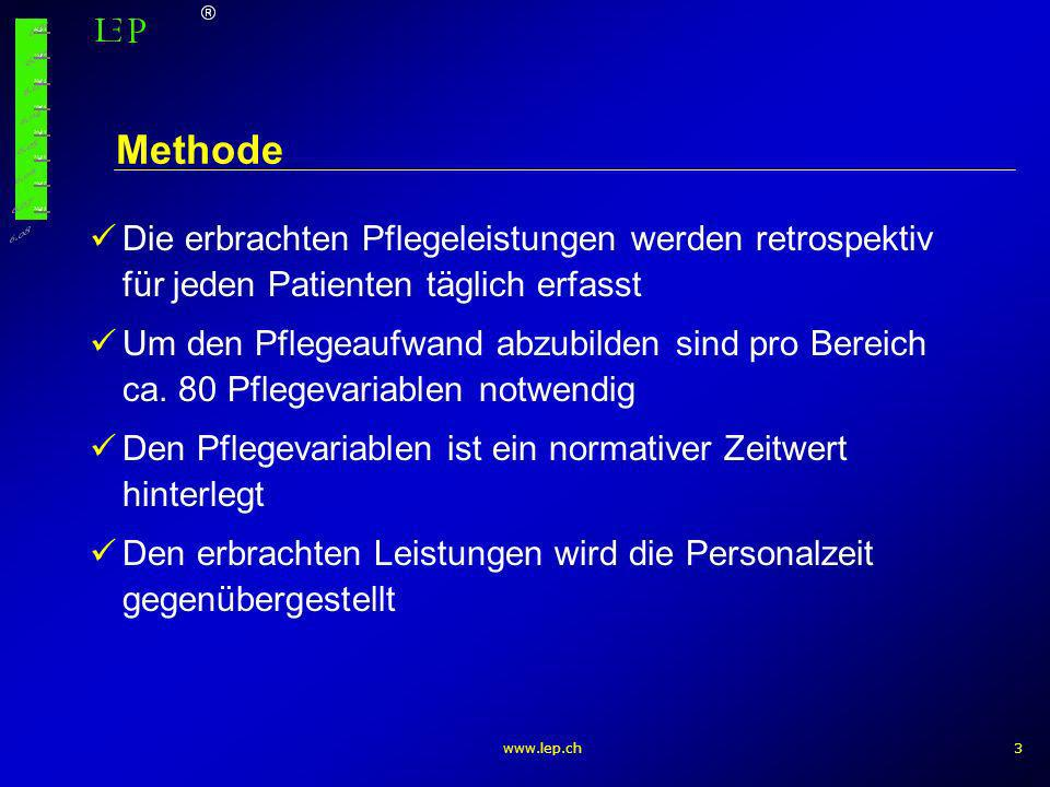 www.lep.ch3 Methode Die erbrachten Pflegeleistungen werden retrospektiv für jeden Patienten täglich erfasst Um den Pflegeaufwand abzubilden sind pro B