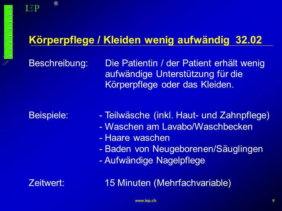 www.lep.ch10 Gruppe 53 – Medikation Medikation oral / rectal / vaginal und andere (4) Injektion (4) Infusion richten / anschliessen (4)