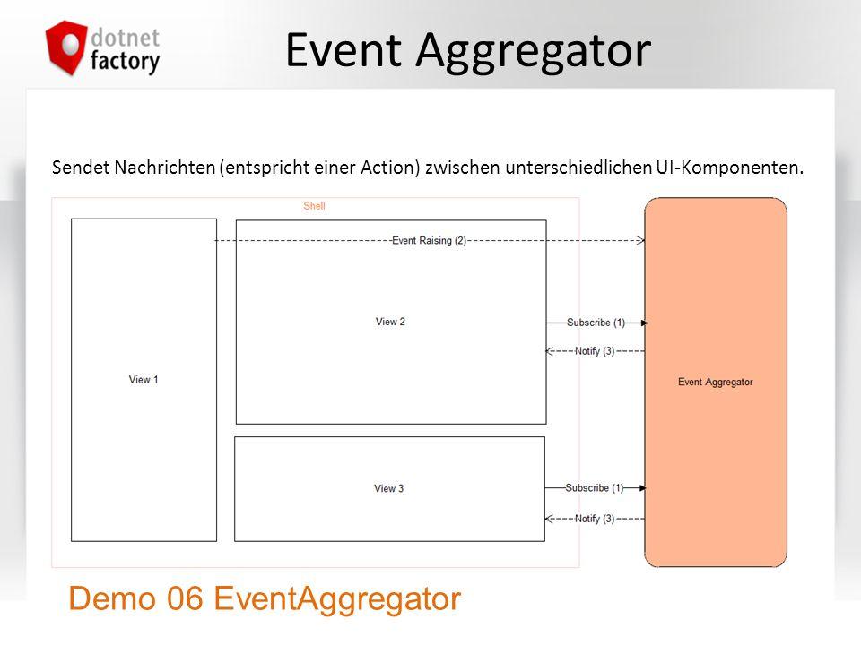 Event Aggregator Sendet Nachrichten (entspricht einer Action) zwischen unterschiedlichen UI-Komponenten. Demo 06 EventAggregator