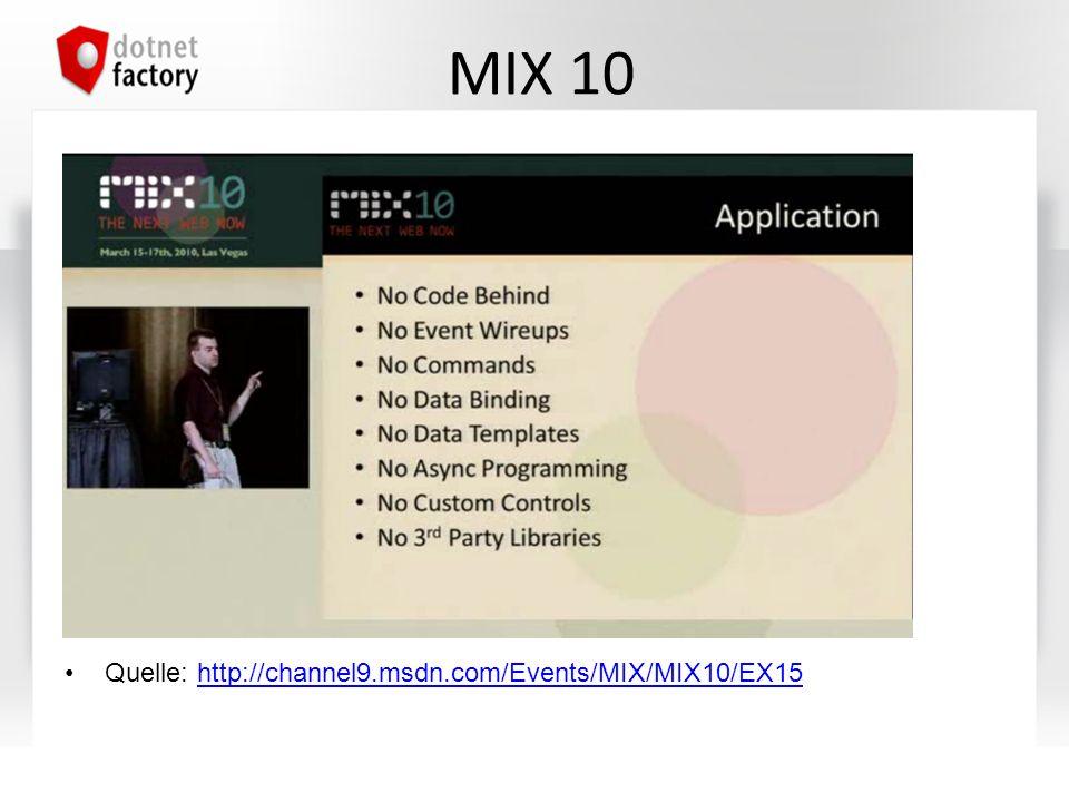 MIX 10 Quelle: http://channel9.msdn.com/Events/MIX/MIX10/EX15http://channel9.msdn.com/Events/MIX/MIX10/EX15