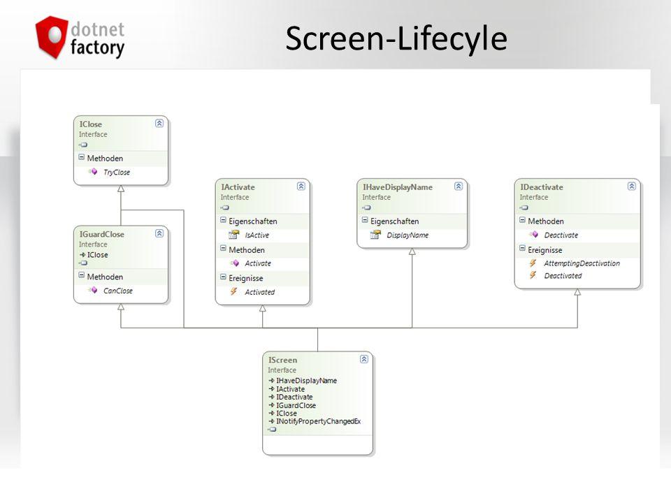 UI-Komposition Screen = Inhalt, das angezeigt wird (hat Lifecycle) Conductor = Verwaltet Screens Screen-Komposition mit (T ist in den meisten Fällen Screen) – Conductor (ActiveItem) – Conductor.Collection.OneActive (Items) – Conductor.Collection.AllActive (Items) ViewModel wird abgeleitet von: – Screen, falls Screen-Lifecycle notwendig ist.