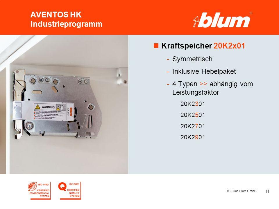 11 © Julius Blum GmbH AVENTOS HK Industrieprogramm nKraftspeicher 20K2x01 -Symmetrisch -Inklusive Hebelpaket -4 Typen >> abhängig vom Leistungsfaktor 20K2301 20K2501 20K2701 20K2901