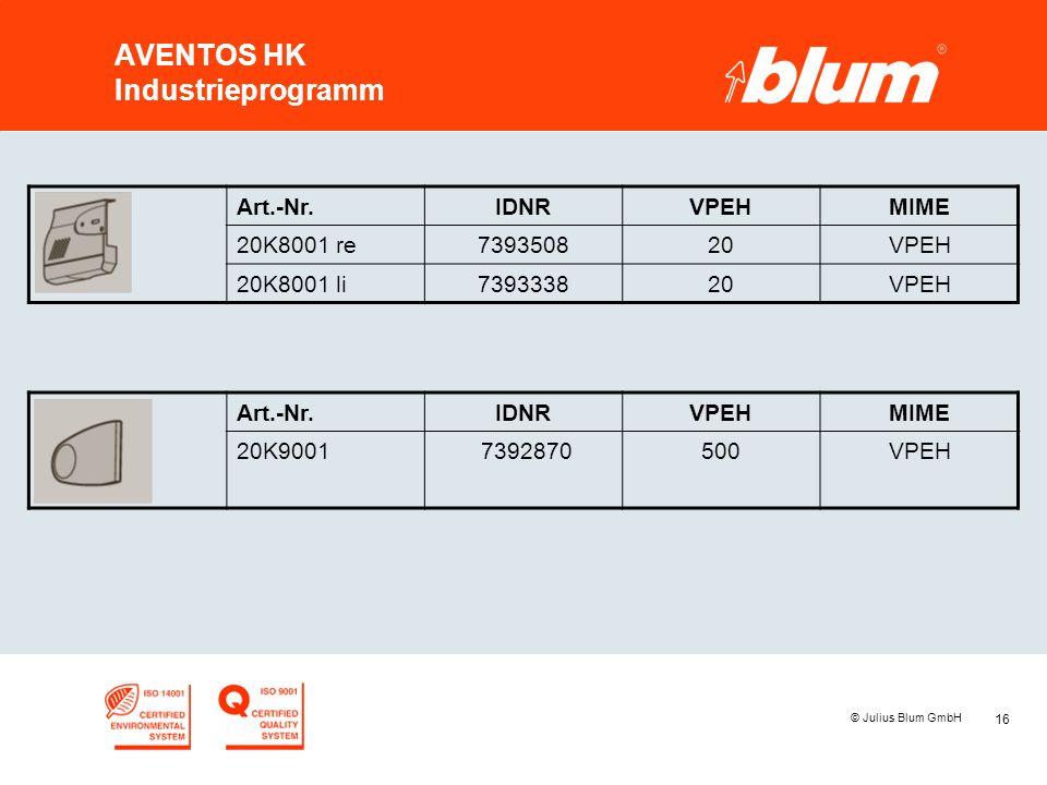 16 © Julius Blum GmbH AVENTOS HK Industrieprogramm Art.-Nr.IDNRVPEHMIME 20K8001 re739350820VPEH 20K8001 li739333820VPEH Art.-Nr.IDNRVPEHMIME 20K9001 7392870500VPEH