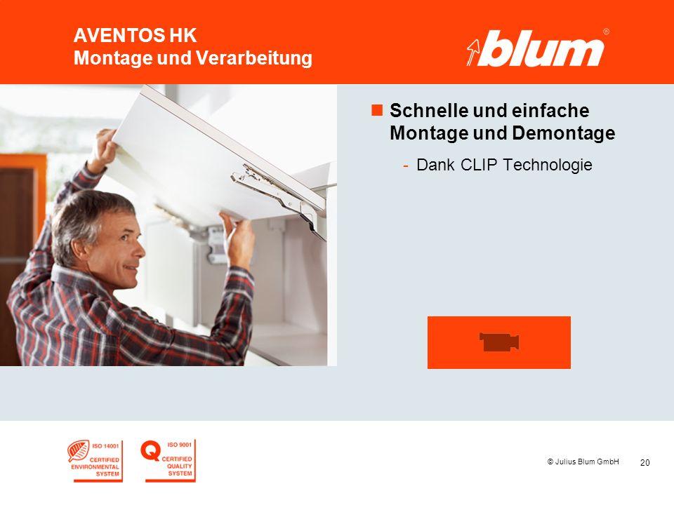 20 © Julius Blum GmbH AVENTOS HK Montage und Verarbeitung nSchnelle und einfache Montage und Demontage -Dank CLIP Technologie