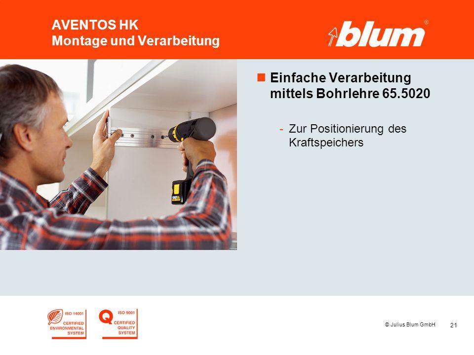 21 © Julius Blum GmbH AVENTOS HK Montage und Verarbeitung nEinfache Verarbeitung mittels Bohrlehre 65.5020 -Zur Positionierung des Kraftspeichers