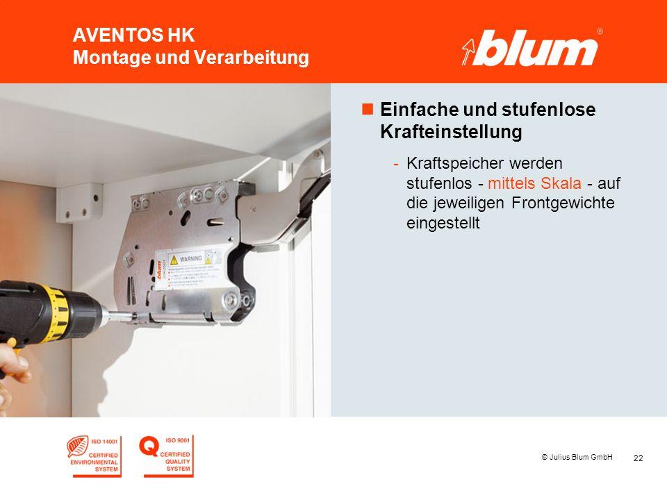 22 © Julius Blum GmbH AVENTOS HK Montage und Verarbeitung nEinfache und stufenlose Krafteinstellung -Kraftspeicher werden stufenlos - mittels Skala - auf die jeweiligen Frontgewichte eingestellt