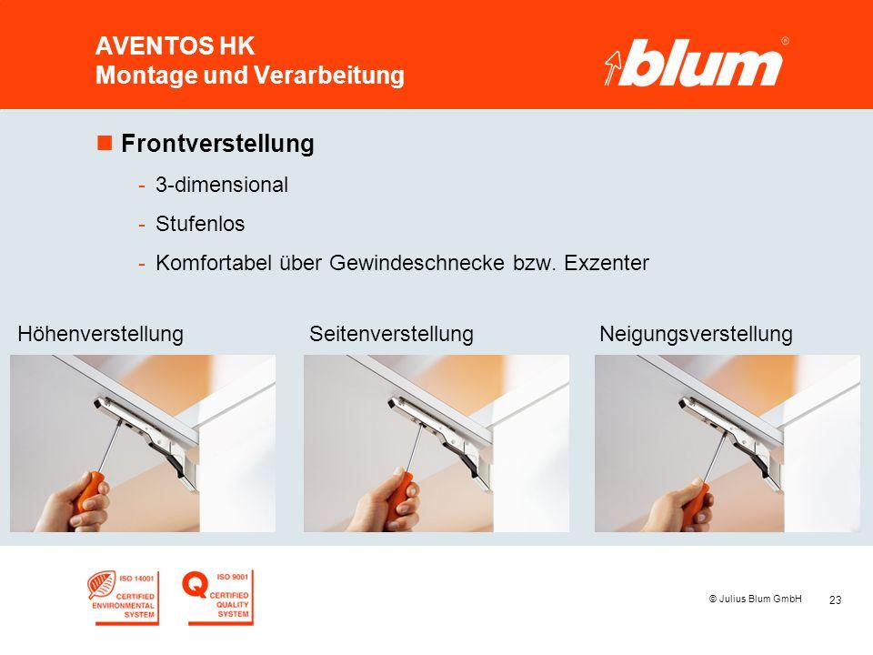 23 © Julius Blum GmbH AVENTOS HK Montage und Verarbeitung nFrontverstellung -3-dimensional -Stufenlos -Komfortabel über Gewindeschnecke bzw.