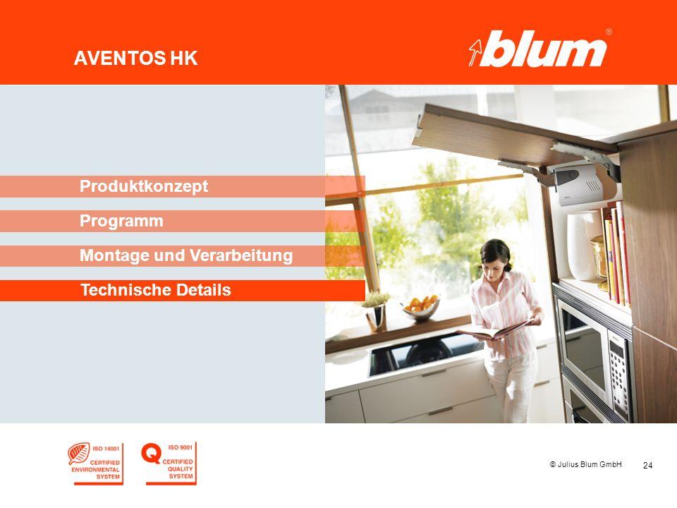 24 © Julius Blum GmbH AVENTOS HK Programm Produktkonzept Montage und Verarbeitung Technische Details
