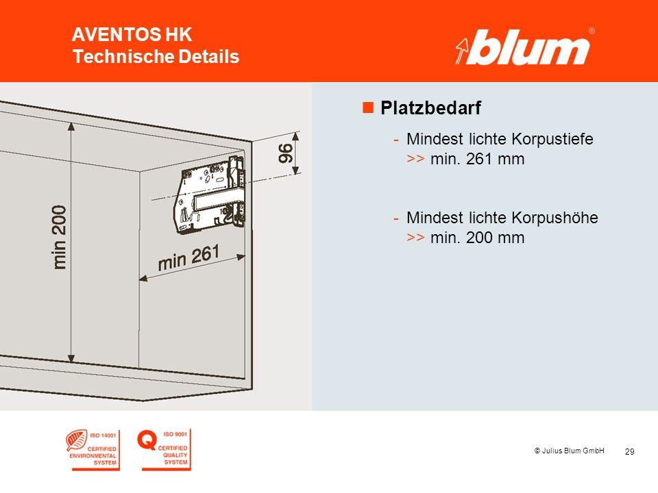 29 © Julius Blum GmbH AVENTOS HK Technische Details nPlatzbedarf -Mindest lichte Korpustiefe >> min.