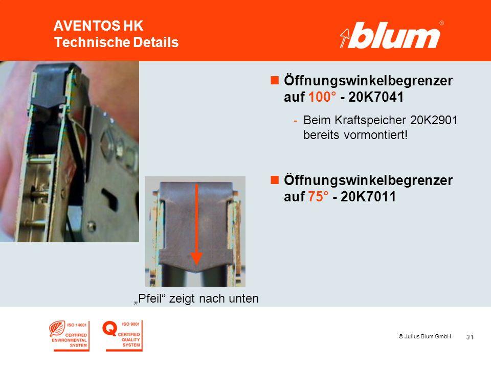 31 © Julius Blum GmbH AVENTOS HK Technische Details nÖffnungswinkelbegrenzer auf 100° - 20K7041 -Beim Kraftspeicher 20K2901 bereits vormontiert.