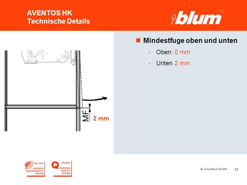 33 © Julius Blum GmbH AVENTOS HK Technische Details nMindestfuge oben und unten -Oben: 0 mm -Unten 2 mm 2 mm