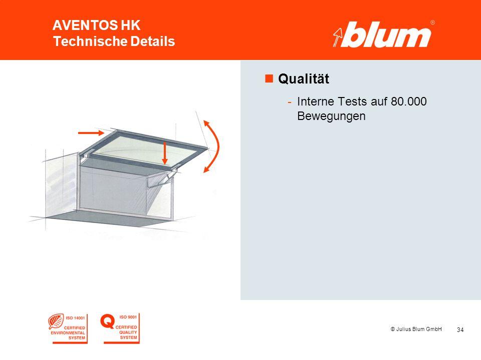 34 © Julius Blum GmbH AVENTOS HK Technische Details nQualität -Interne Tests auf 80.000 Bewegungen