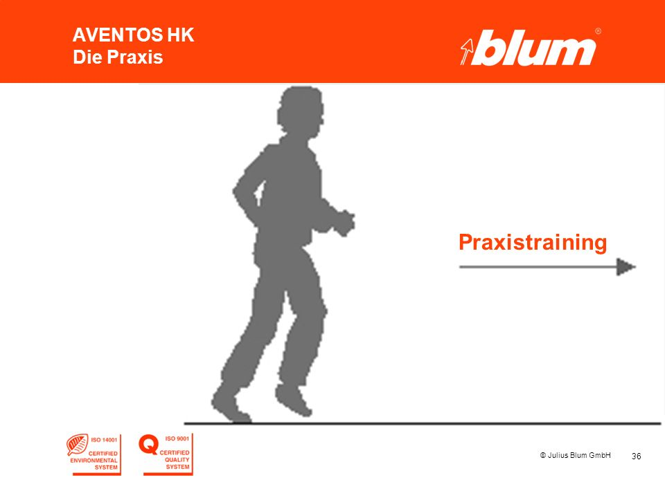 36 © Julius Blum GmbH AVENTOS HK Die Praxis Praxistraining