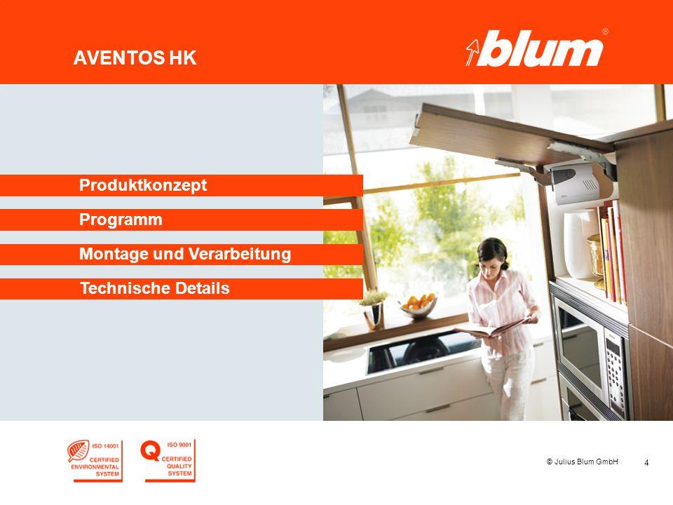 4 © Julius Blum GmbH AVENTOS HK Programm Produktkonzept Montage und Verarbeitung Technische Details