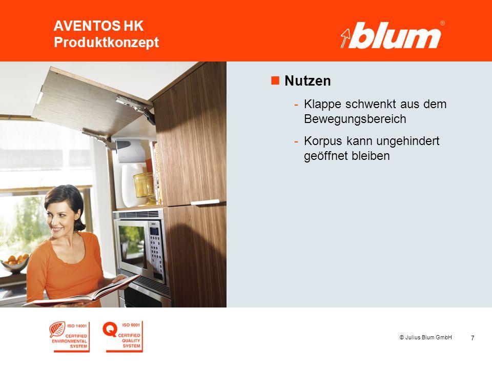 7 © Julius Blum GmbH AVENTOS HK Produktkonzept nNutzen -Klappe schwenkt aus dem Bewegungsbereich -Korpus kann ungehindert geöffnet bleiben
