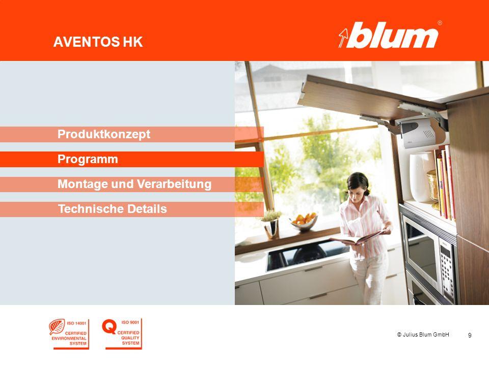 9 © Julius Blum GmbH AVENTOS HK Programm Produktkonzept Montage und Verarbeitung Technische Details