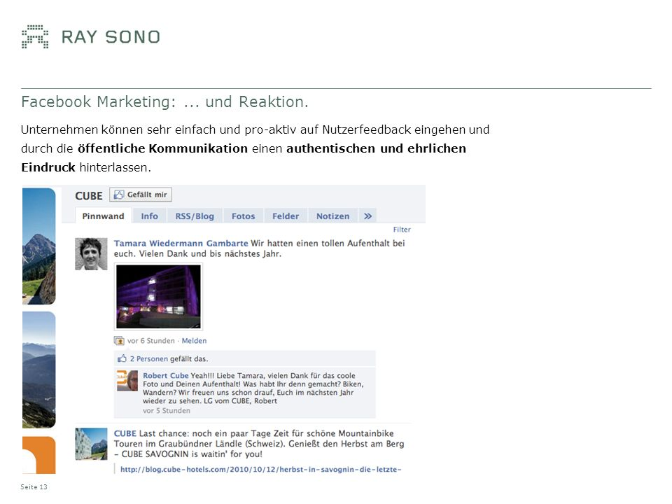 Facebook Marketing:... und Reaktion.