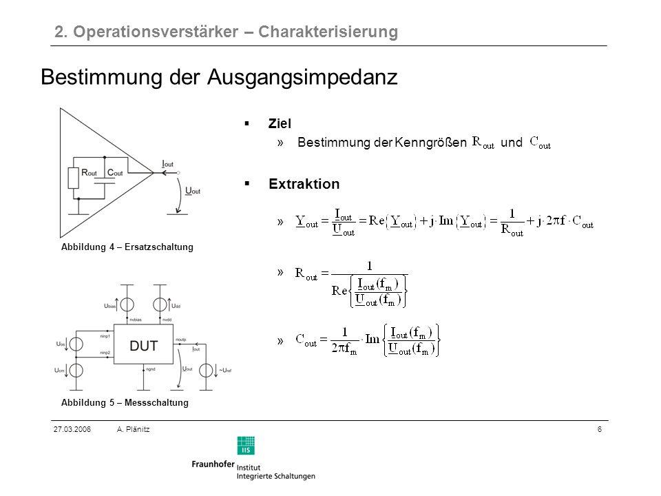 6 27.03.2006A. Plänitz Bestimmung der Ausgangsimpedanz 2.