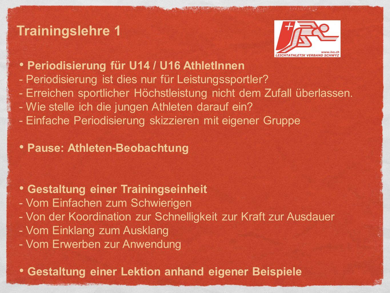 Periodisierung für U14 / U16 AthletInnen - Periodisierung ist dies nur für Leistungssportler.
