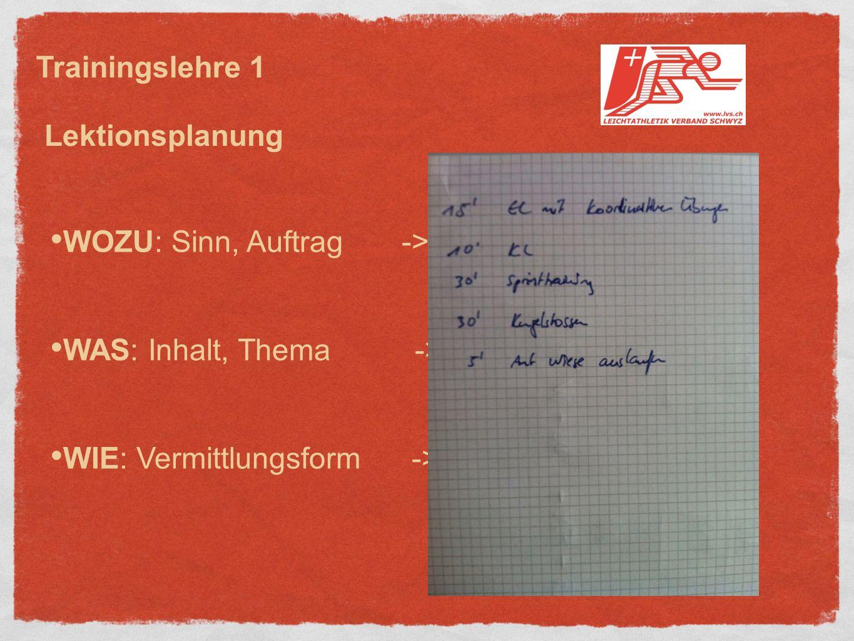 WOZU: Sinn, Auftrag -> Zielsetzung WAS: Inhalt, Thema -> Übungswahl WIE: Vermittlungsform -> Methodenwahl Trainingslehre 1 Lektionsplanung