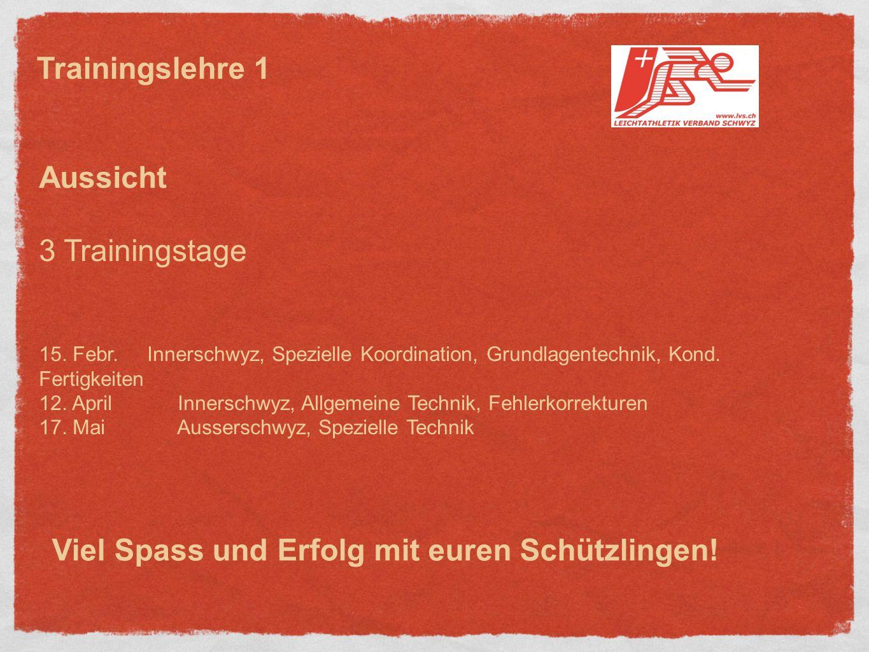 Aussicht 3 Trainingstage 15.Febr. Innerschwyz, Spezielle Koordination, Grundlagentechnik, Kond.