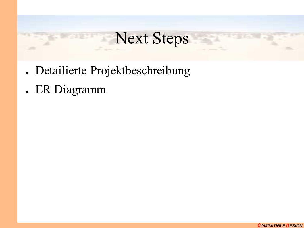 Next Steps Detailierte Projektbeschreibung ER Diagramm