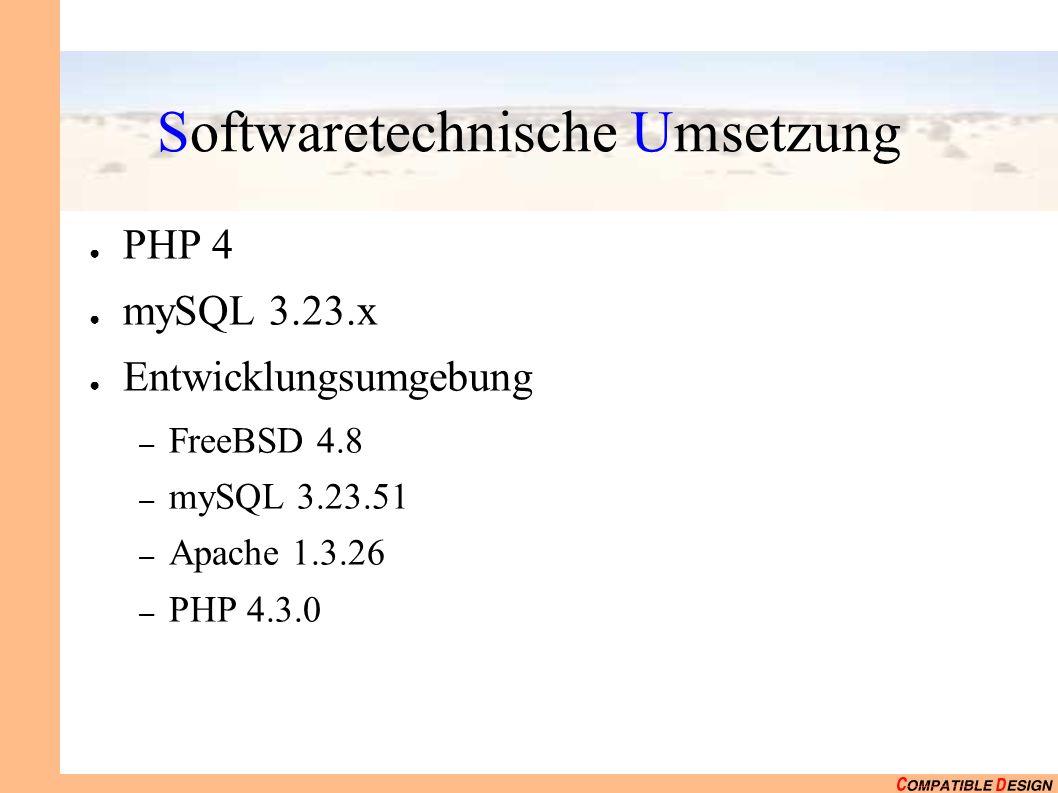 Softwaretechnische Umsetzung PHP 4 mySQL 3.23.x Entwicklungsumgebung – FreeBSD 4.8 – mySQL 3.23.51 – Apache 1.3.26 – PHP 4.3.0