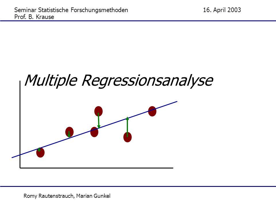 Seminar Statistische Forschungsmethoden16. April 2003 Romy Rautenstrauch, Marian Gunkel Multiple Regressionsanalyse Prof. B. Krause