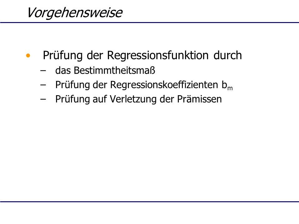 Vorgehensweise Prüfung der Regressionsfunktion durch –das Bestimmtheitsmaß –Prüfung der Regressionskoeffizienten b m –Prüfung auf Verletzung der Prämi