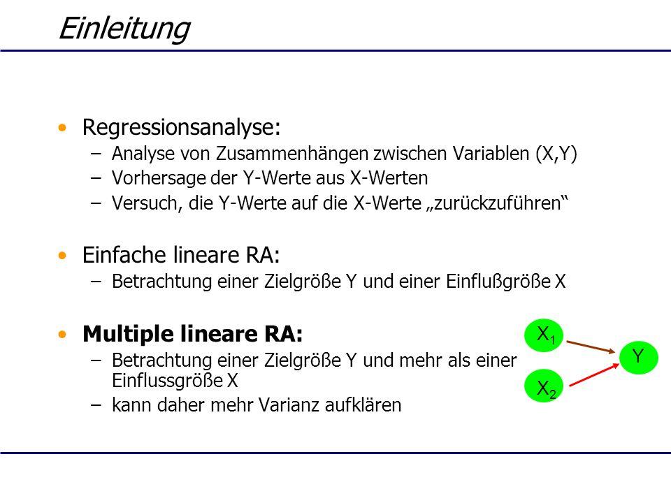 Einleitung Regressionsanalyse: –Analyse von Zusammenhängen zwischen Variablen (X,Y) –Vorhersage der Y-Werte aus X-Werten –Versuch, die Y-Werte auf die