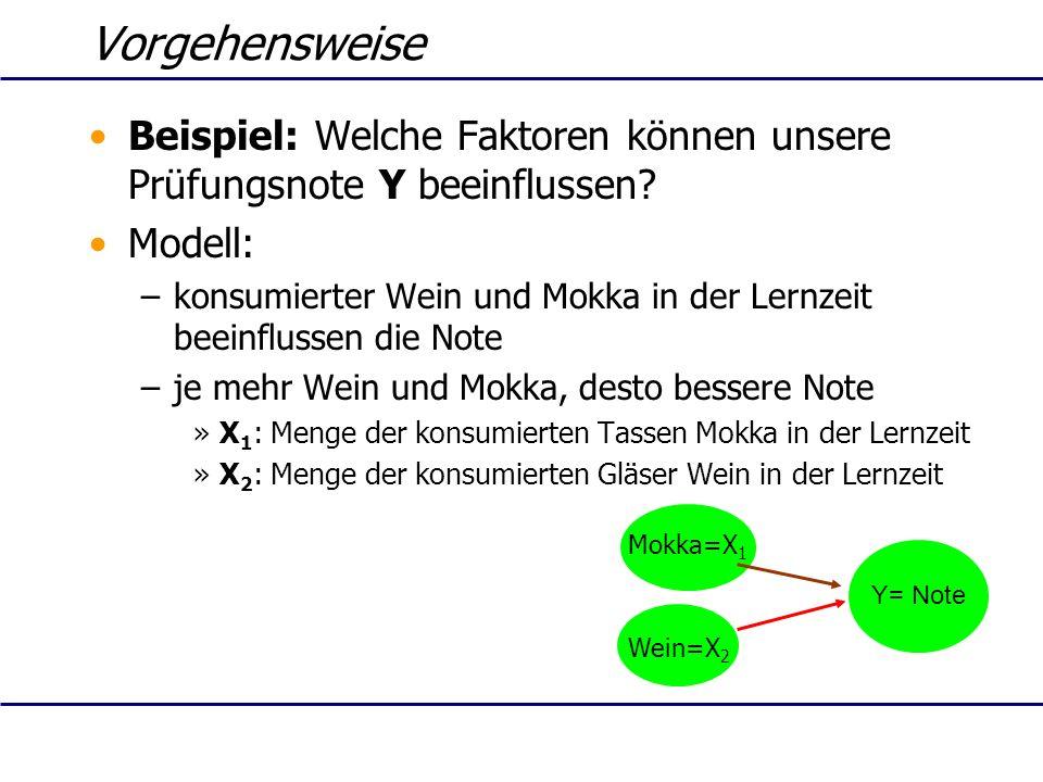 Vorgehensweise Beispiel: Welche Faktoren können unsere Prüfungsnote Y beeinflussen? Modell: –konsumierter Wein und Mokka in der Lernzeit beeinflussen