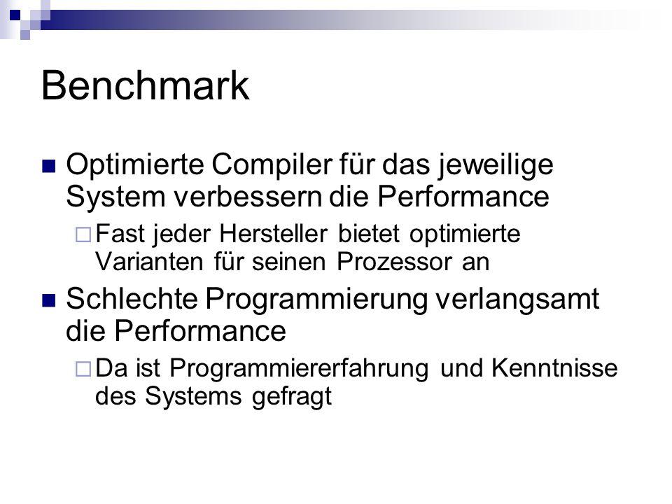 Benchmark Optimierte Compiler für das jeweilige System verbessern die Performance Fast jeder Hersteller bietet optimierte Varianten für seinen Prozess