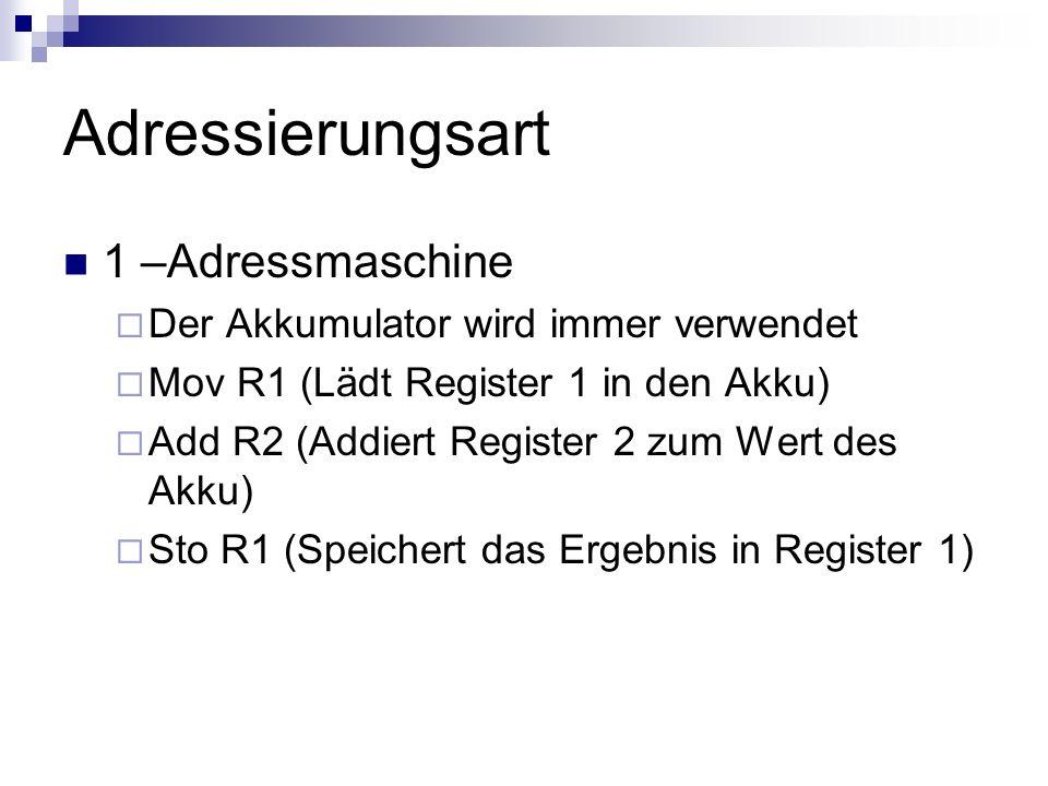 Adressierungsart 1 –Adressmaschine Der Akkumulator wird immer verwendet Mov R1 (Lädt Register 1 in den Akku) Add R2 (Addiert Register 2 zum Wert des A