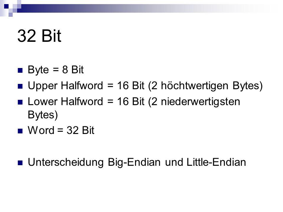 32 Bit Byte = 8 Bit Upper Halfword = 16 Bit (2 höchtwertigen Bytes) Lower Halfword = 16 Bit (2 niederwertigsten Bytes) Word = 32 Bit Unterscheidung Bi