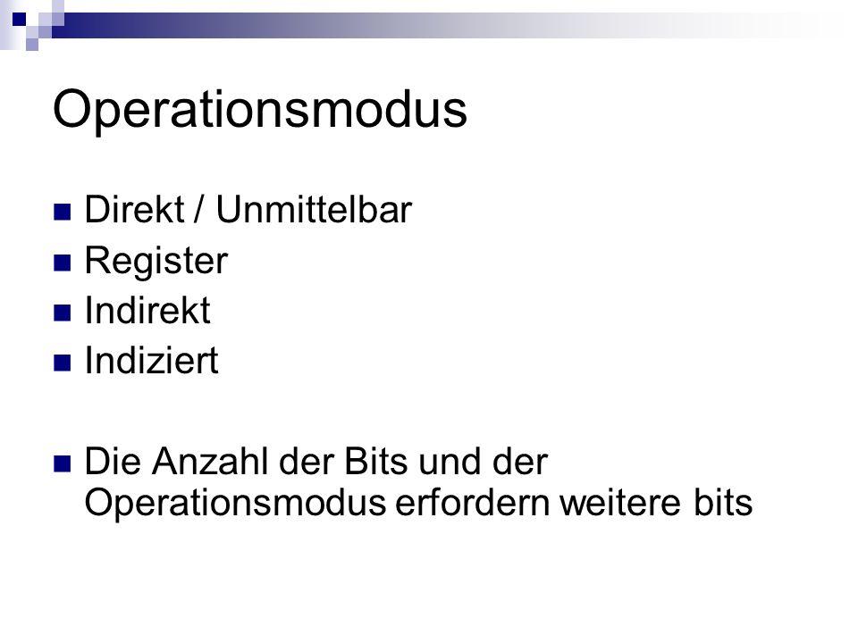 Operationsmodus Direkt / Unmittelbar Register Indirekt Indiziert Die Anzahl der Bits und der Operationsmodus erfordern weitere bits