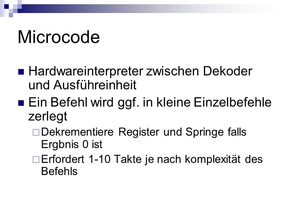 Microcode Hardwareinterpreter zwischen Dekoder und Ausführeinheit Ein Befehl wird ggf. in kleine Einzelbefehle zerlegt Dekrementiere Register und Spri