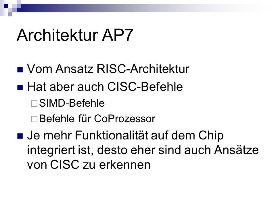 Architektur AP7 Vom Ansatz RISC-Architektur Hat aber auch CISC-Befehle SIMD-Befehle Befehle für CoProzessor Je mehr Funktionalität auf dem Chip integr