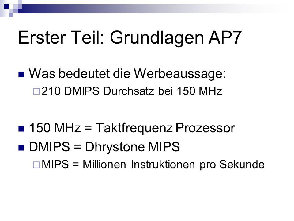 Erster Teil: Grundlagen AP7 Was bedeutet die Werbeaussage: 210 DMIPS Durchsatz bei 150 MHz 150 MHz = Taktfrequenz Prozessor DMIPS = Dhrystone MIPS MIP