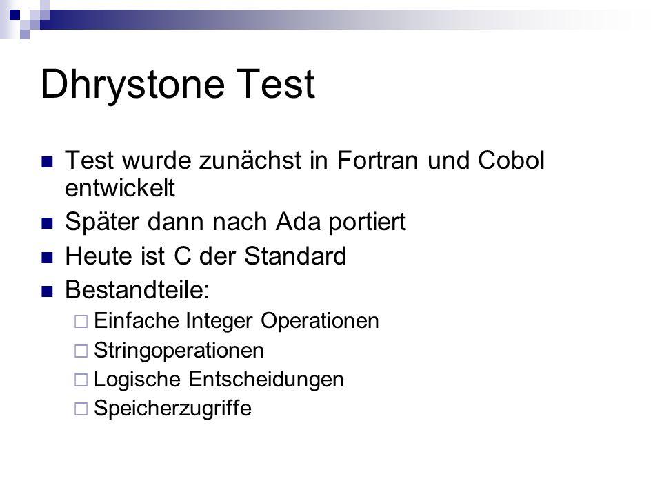 Dhrystone Test Test wurde zunächst in Fortran und Cobol entwickelt Später dann nach Ada portiert Heute ist C der Standard Bestandteile: Einfache Integ