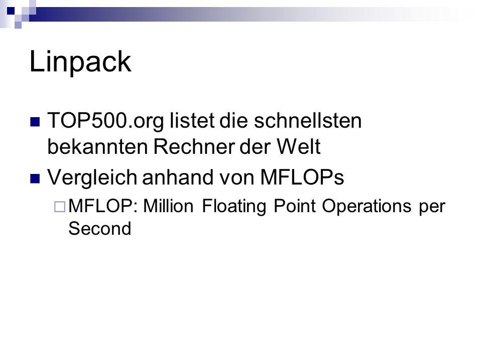Linpack TOP500.org listet die schnellsten bekannten Rechner der Welt Vergleich anhand von MFLOPs MFLOP: Million Floating Point Operations per Second