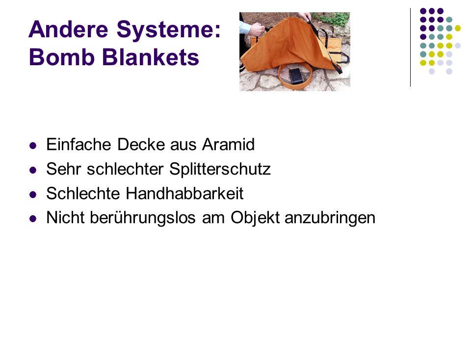 Andere Systeme: Bomb Blankets Einfache Decke aus Aramid Sehr schlechter Splitterschutz Schlechte Handhabbarkeit Nicht berührungslos am Objekt anzubrin
