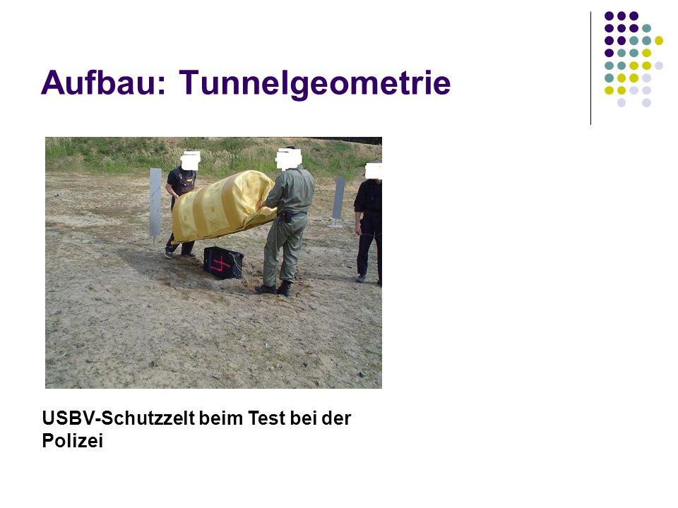Aufbau: Tunnelgeometrie USBV-Schutzzelt beim Test bei der Polizei