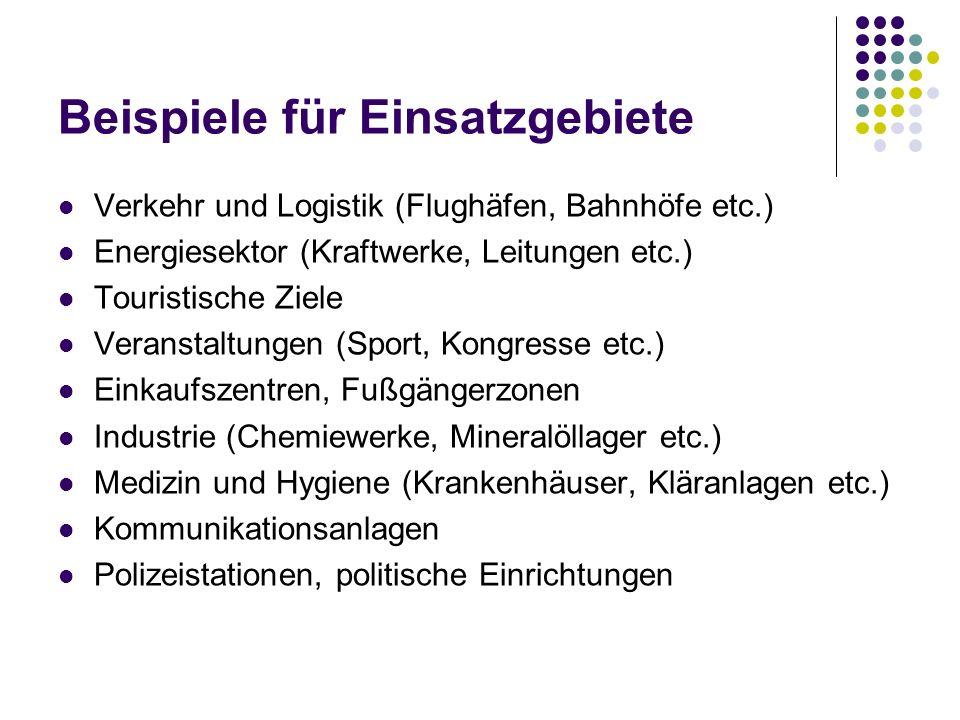Beispiele für Einsatzgebiete Verkehr und Logistik (Flughäfen, Bahnhöfe etc.) Energiesektor (Kraftwerke, Leitungen etc.) Touristische Ziele Veranstaltu